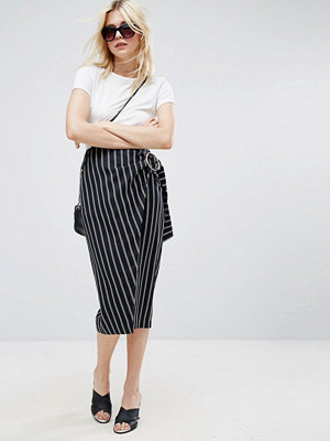 ASOS Pencil Skirt In Stripe with Large Buckle Detail - Stripe