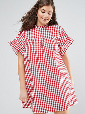 ASOS Curve Red Gingham Smock Dress - Red gingham
