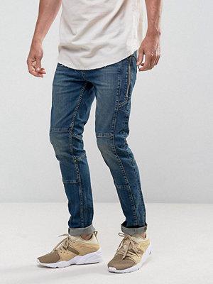 ASOS Skinny Jeans In Vintage Dark Wash Biker With Chunky Zips - Dark wash vintage