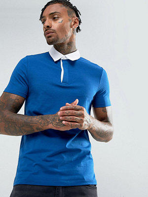 ASOS Muscle Rugby Polo Shirt In Blue - Tense