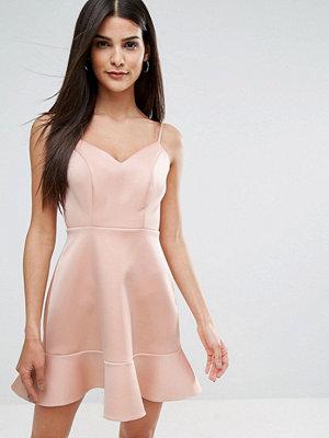 River Island Frill Hem Cross Back Mini Dress - Nude