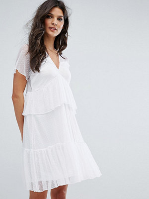 River Island Spotted Mesh Tiered Ruffle Smock Dress - White mesh