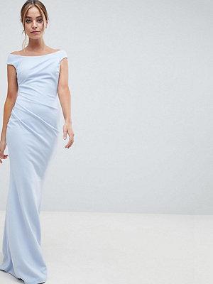 City Goddess Petite Bardot Fishtail Maxi Dress - Powder blue (19)