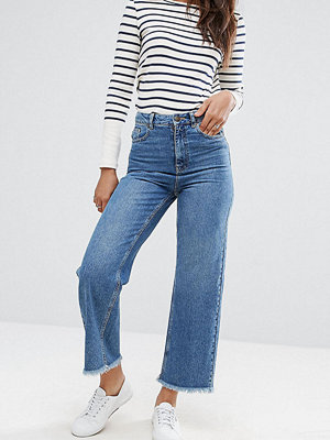 Asos Tall Cropped Wide Leg High Rise Jean with Chewed Hems - Dark stone wash