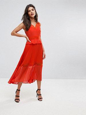 River Island Lace Ruffle Pleated Midi Dress - Bright orange