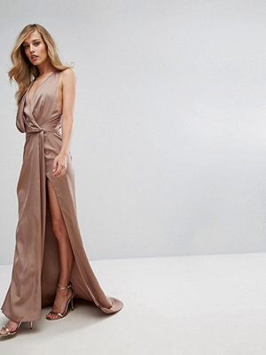 Fame and Partners Wrap Maxi Gown with Fishtail - Dark tan