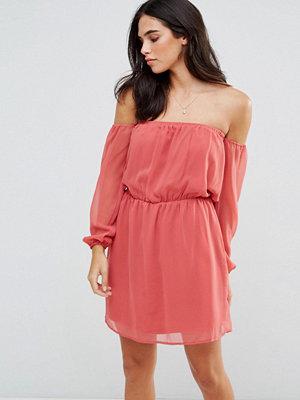 Glamorous Off Shoulder Dress - Dusty pink