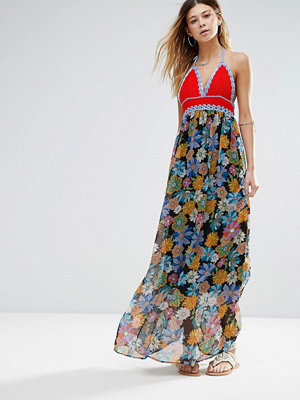 Glamorous Printed Maxi Dress With Crochet Top - Multi orange crochet