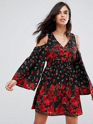 River Island Floral Print Cold Shoulder Dress - Red dark print