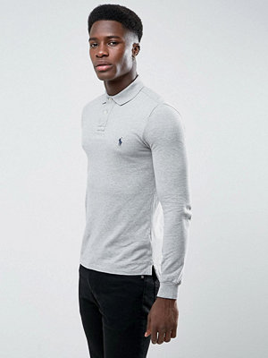 Polo Ralph Lauren Pique Polo Long Sleeve Slim Fit in Grey Marl - Andover heather