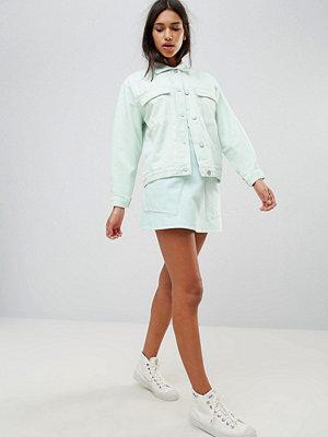 Wåven Ina A-linjeformad jeanskjol med fickor Blek mint