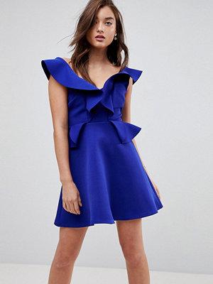 River Island Frill Detail A-Line Mini Dress - Blue bright