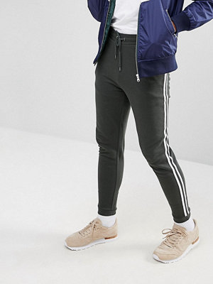 ASOS Skinny Joggers With Side Stripe In Green - Lochness / white