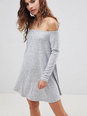 Glamorous Off Shoulder Swing Dress - Grey marl
