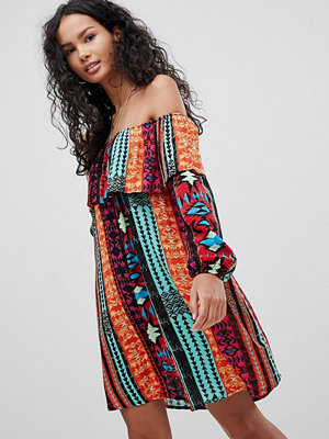 Glamorous Off Shoulder Dress - Orange aztec stripe