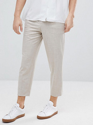ASOS Tapered Smart Trousers In Putty Cross Hatch Nepp - Putty