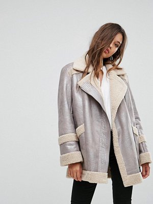 French Connection Metallic Faux Shearling Jacket