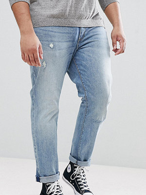 ASOS PLUS Stretch Slim Jeans In Mid Wash With Abrasions - Mid wash blue