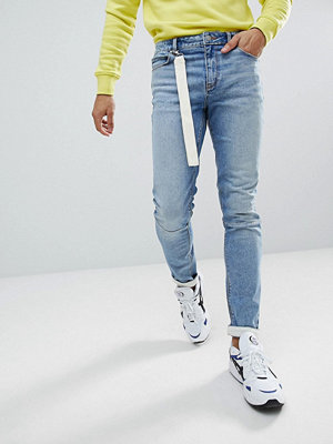 ASOS Skinny Jeans In Light Wash Blue With Strap Detail - Light wash blue