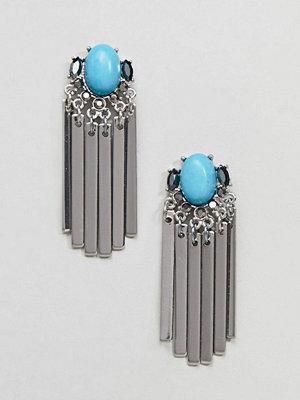 ASOS örhängen DESIGN Jewel Stone And Metal Plate Tassel Earrings - Rhodium