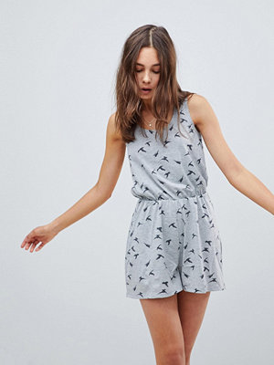 Brave Soul Swoop Playsuit in Bird Print - Grey marl / charcoal