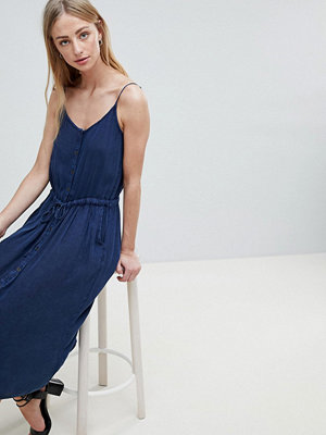 Brave Soul Becky Button Through Midi Dress with Drawstring Waist - Indigo
