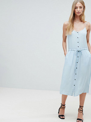 Brave Soul Becky Button Through Midi Dress with Drawstring Waist - Pale blue