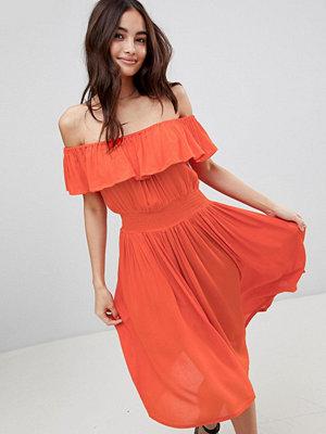 Brave Soul Petal Midi Dress with Frill Bardot - Red?
