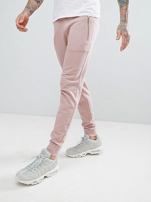 ASOS Skinny Joggers With Zips In Pink - Dream