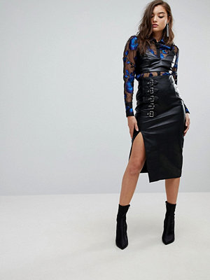 River Island Buckle Faux Leather Pencil Skirt