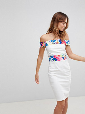Paper Dolls Printed Panel Bardot Dress