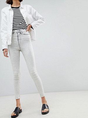 Wåven Anika Stentvättade skinny jeans med hög midja Snow grey acid