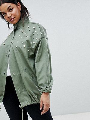 ASOS Curve ASOS DESIGN Curve Pearl Jacket - Khaki