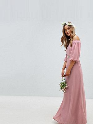 TFNC Bardot Maxi Bridesmaid Dress with Sleeve Drama and Embellished Waist - Vintage rose