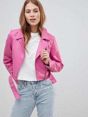 Skinnjackor - ASOS DESIGN Leather Look Biker - Hot pink
