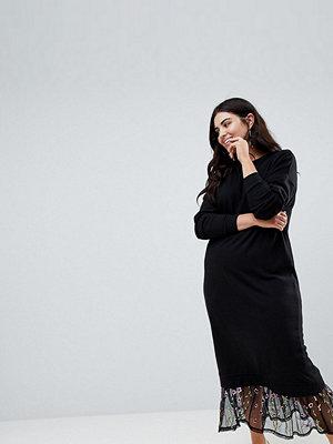 ASOS Curve ASOS DESIGN Curve maxi sweat dress with embroidered mesh hem