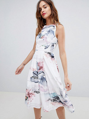 Little Mistress Fit & Flare Midi Dress With Open Back