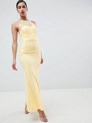 Little Mistress Lace Panelled Maxi Dress - Lemon