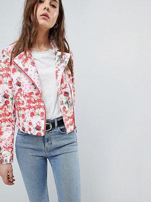 Skinnjackor - ASOS DESIGN Floral Leather Look Biker