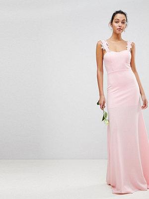 Club L Bridesmaid Bandeau Maxi Dress With Applique Embroided Lace Detail