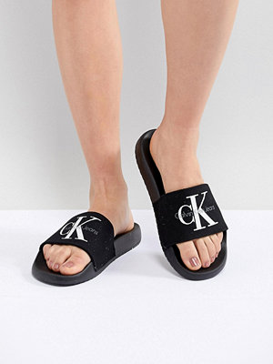 Calvin Klein Chantal Black Canvas Sliders - Black/black