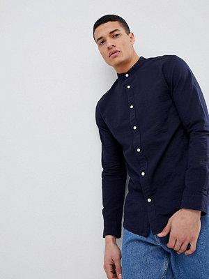 Selected Homme Seersucker Shirt With Grandad Collar - Dark sapphire