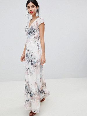 Little Mistress Button Through Maxi Dress In Romantic Floral Print