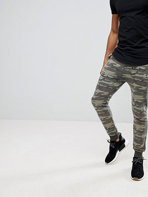 ASOS Super Skinny Joggers In Washed Camo - Khaki