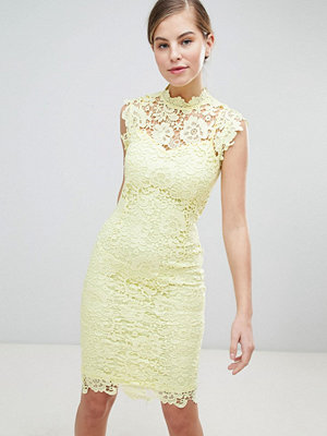 Paper Dolls High Neck Crochet Dress - Lemon