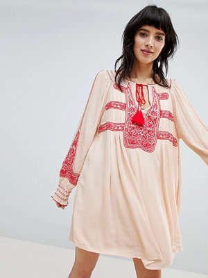 Free People Wind Willow Embroidered Mini Dress - Ivory