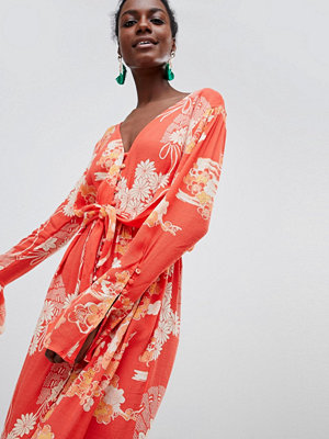 Free People Mixed Print Twist Midi Dress - Red combo
