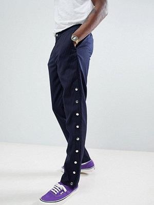 ASOS DESIGN Slim Trousers Co-Ord In Navy Pinstripe With Poppers