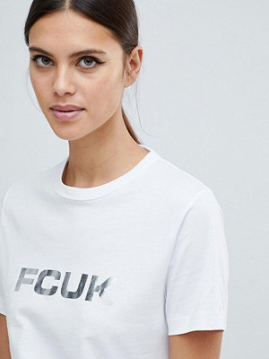 French Connection FCUK Fräck t-shirt med metallic-färgad logotyp Vit/silver