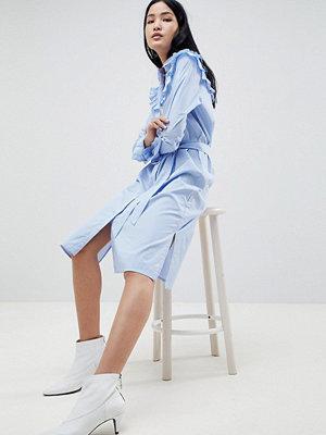 Gestuz Tam Stripe Shirt Dress with Ruffle Details - Dark blue/wht stripe